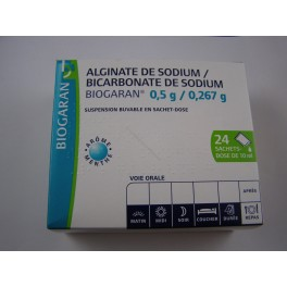 Alginate de sodium - bicarbonate de sodium Biogaran suspension buvable 24 sachets
